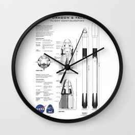 NASA SpaceX Crew Dragon Spacecraft & Falcon 9 Rocket Blueprint in High Resolution (white) Wall Clock