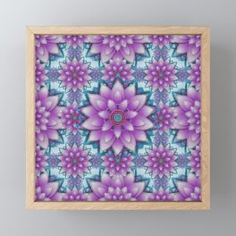 Pink- purple - turquoise Faux stitch pattern Framed Mini Art Print