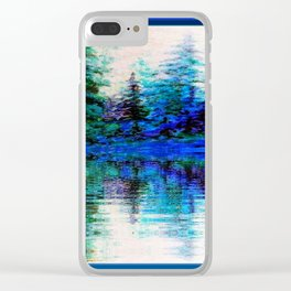 BLUE SCENIC MOUNTAIN PINES LAKE REFLECTION ART  PATTERNS Clear iPhone Case