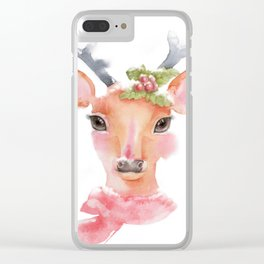 Watercolor-Cute deer with long eyelashes in the snow. Clear iPhone Case