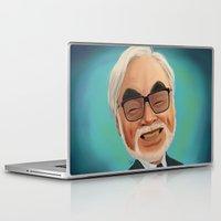 hayao miyazaki Laptop & iPad Skins featuring Hayao Miyasaki by CarolaRT