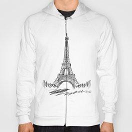 Eiffel Tower minimalist black and white illustration Hoody