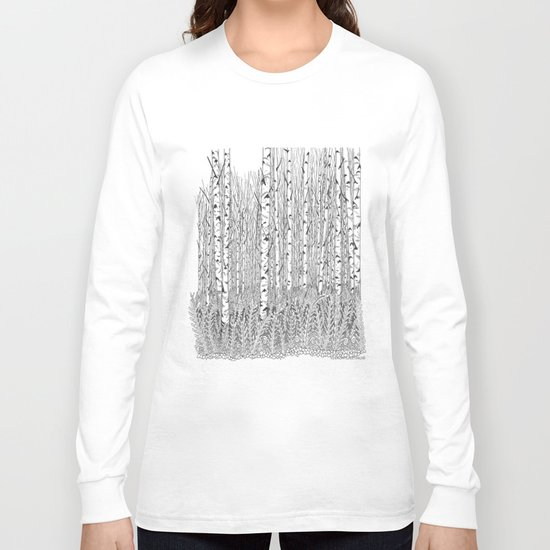 Birch Trees Black and White Illustration Long Sleeve T-shirt