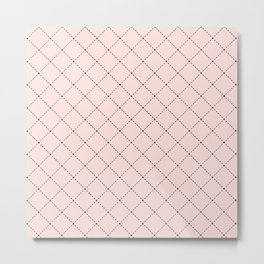 Back to School- Simple Diagonal Grid Pattern- Black & Pink - Mix & Match with Simplicity of Life Metal Print