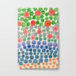 Playful Green Stars and Colorful Circles Pattern Metal Print