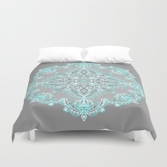 Teal And Aqua Lace Mandala On Grey Duvet Cover By Micklyn