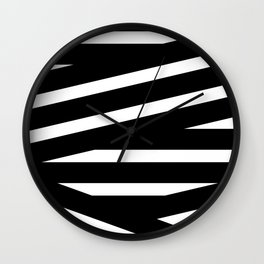 Abstract black & white Lines Stripes Pattern - Mix and Match with Simplicity of Life Wall Clock