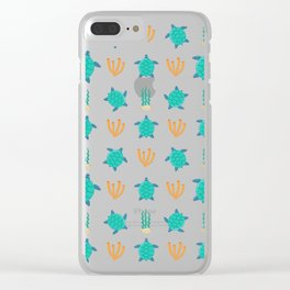 Cute turquoise orange turtle nautical coral reef floral Clear iPhone Case