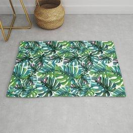 Elephant Tropical Leaves Pattern Rug