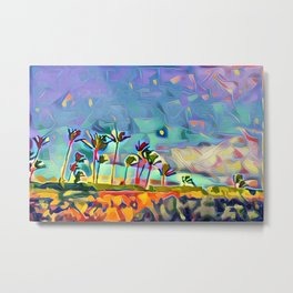 Golden Palm Landscape #3 (Right) Triptych Metal Print