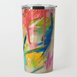 Wild Child: a colorful, vibrant abstract piece in neon and bold colors Travel Mug