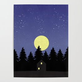 Starry Moonlit Night Sky Forest Poster