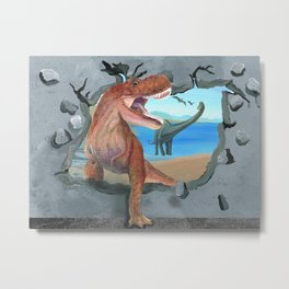 Prehistoric Dinosaur Tyrannosaurus Enters the 21st Century Metal Print