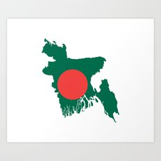 Bangladesh flag map Art Print