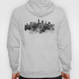 Cleveland skyline in black watercolor on white background Hoody