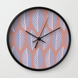 Gray and Pink Leaves Pattern Wall Clock