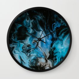 Blue Fire Abstract Marble Art Wall Clock