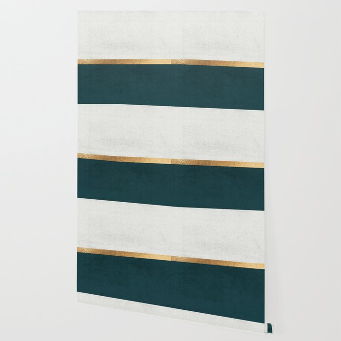 Deep Green, Gold and White Color Block Wallpaper