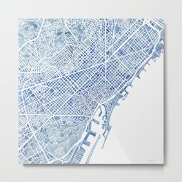 Barcelona Blueprint Watercolor City Map Metal Print