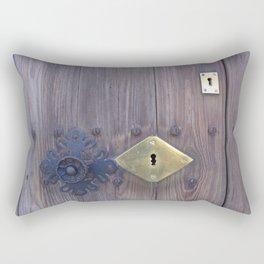 Old door knob with keyholes Rectangular Pillow