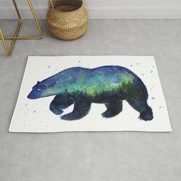 Polar Bear Silhouette with Northern Lights Galaxy Rug