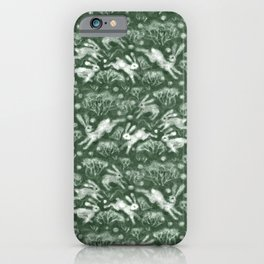 Hares Field, Jumping White Rabbits Winter Holidays Pattern,  iPhone Case