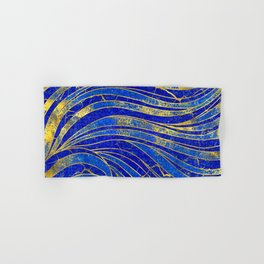 Lapis Lazuli and gold vaves pattern Hand & Bath Towel