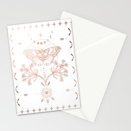 Magical Moth In Rose Gold Stationery Cards