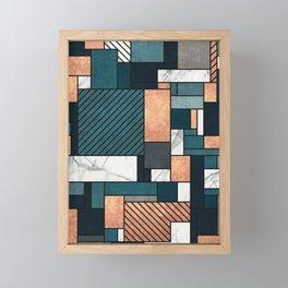 Random Pattern - Copper, Marble, and Blue Concrete Framed Mini Art Print