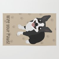 terrier Area & Throw Rugs featuring Boston Terrier by Sarah