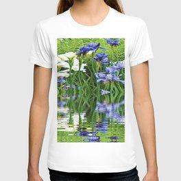 BLUE & WHITE IRIS WATER REFLECTION ART T-shirt