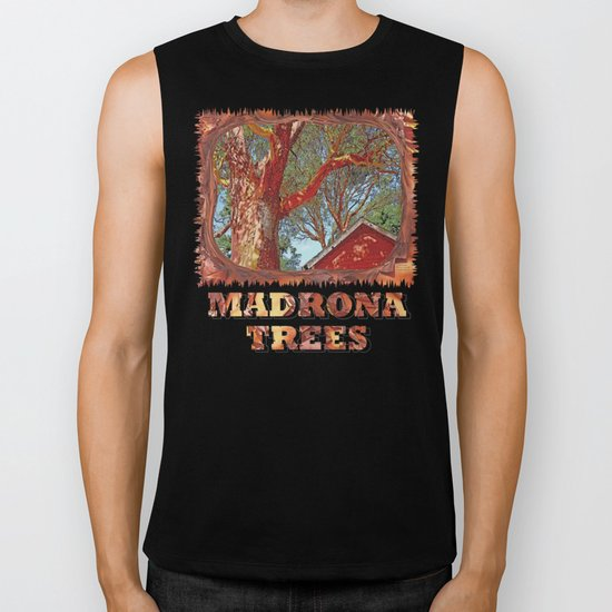 MADRONA TREES AND RED BARN ROOFLINE 2 SAN JUAN ISLANDS Biker Tank