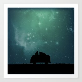 Looking Up at the Night Sky Art Print