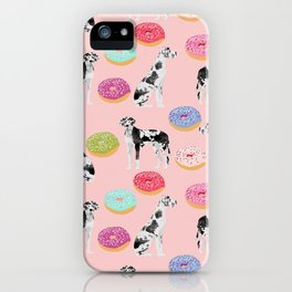Great Dane donuts food lover dog person pet portrait by pet friendly dog breeds iPhone Case