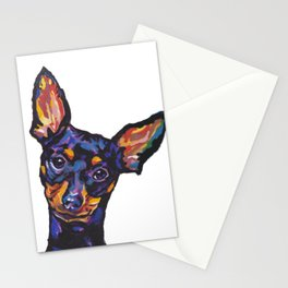 Miniature Pinscher Dog Portrait bright colorful Fun Pop Art Dog Painting by LEA Stationery Cards