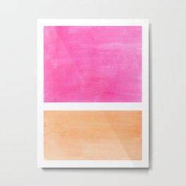 Colorful Bright Minimalist Rothko Pastel Pink Peach Midcentury Modern Art Vintage Pop Art Metal Print