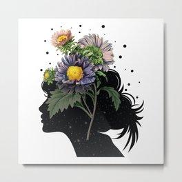 Flower pot head galaxy Metal Print