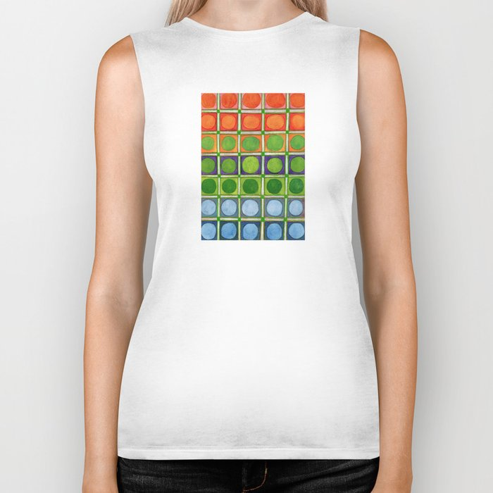 Beautiful Rainbow Colored Circles in a Grid Biker Tank