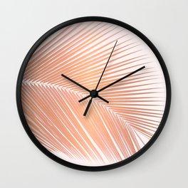 Palm leaf - copper pink Wall Clock