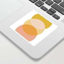 Geometric Art, Sun and Moon Art, Orange, Pink, Yellow Sticker