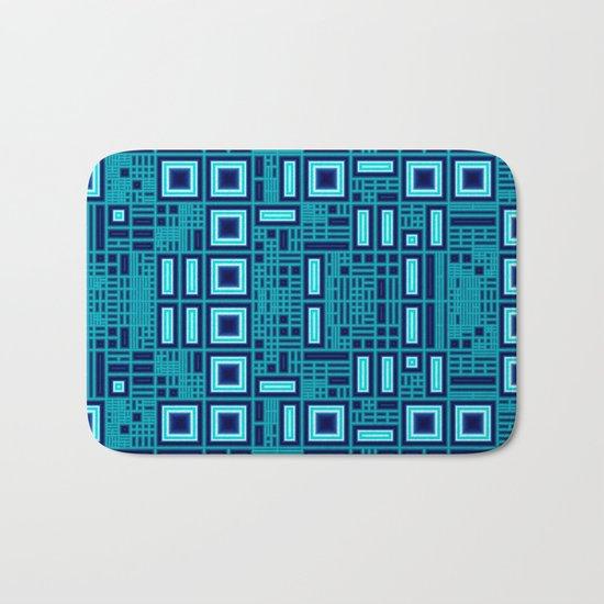Blue digital geometric abstraction Bath Mat