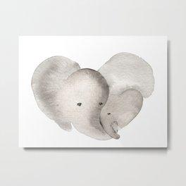 Elephant Mama and Baby Metal Print