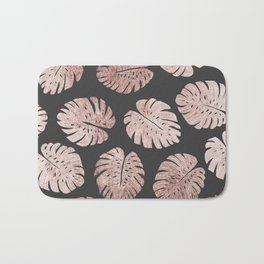 Chic Elegant Rose Gold Swiss Cheese Plant Leaves Bath Mat
