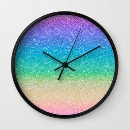 Rainbow Glitter Wall Clock