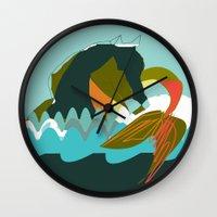 sea horse Wall Clocks featuring Sea Horse by Federica Fernanda