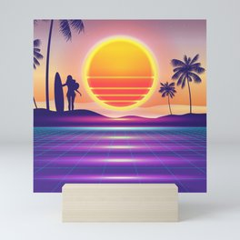 Sunset Surfing Synthwave Mini Art Print