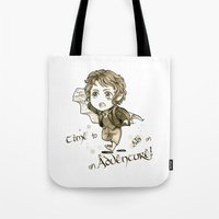chibi Tote Bags featuring Chibi Bilbo by KuroCyou