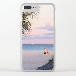 Lovers walk beach Clear iPhone Case