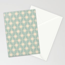 Atomic Age Retro 1950s Starburst Pattern in Cream and 50s Mint Celadon  Stationery Cards