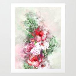 Hibiscus Garden #floral #hibiscus Art Print